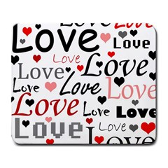 Love pattern - red Large Mousepads