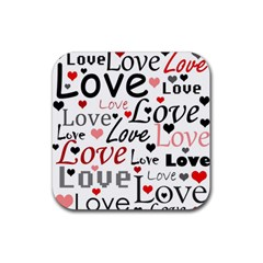 Love pattern - red Rubber Square Coaster (4 pack)