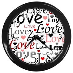 Love pattern - red Wall Clocks (Black)