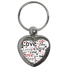 Love pattern - red Key Chains (Heart)