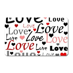 Love pattern - red Magnet (Rectangular)