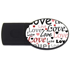 Love pattern - red USB Flash Drive Oval (1 GB)