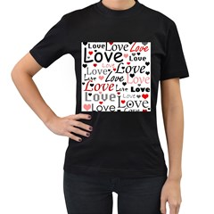 Love pattern - red Women s T-Shirt (Black) (Two Sided)