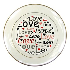 Love pattern - red Porcelain Plates