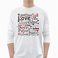 Love pattern - red White Long Sleeve T-Shirts