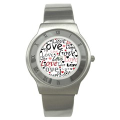 Love pattern - red Stainless Steel Watch