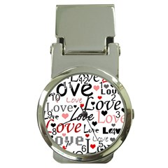 Love pattern - red Money Clip Watches