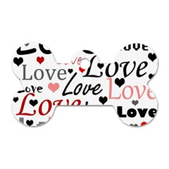 Love pattern - red Dog Tag Bone (One Side)
