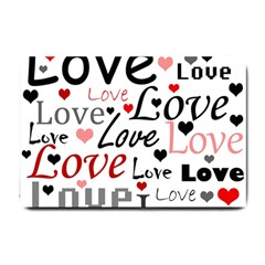Love pattern - red Small Doormat