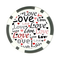 Love pattern - red Poker Chip Card Guards