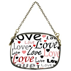 Love pattern - red Chain Purses (One Side)