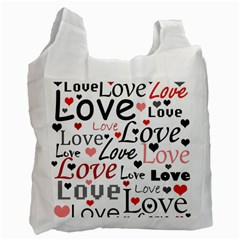 Love pattern - red Recycle Bag (One Side)