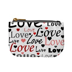 Love pattern - red Mini Coin Purses