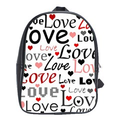 Love pattern - red School Bags(Large)