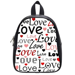 Love pattern - red School Bags (Small)