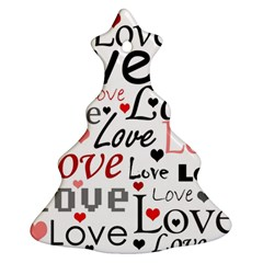 Love pattern - red Christmas Tree Ornament (2 Sides)