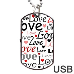 Love pattern - red Dog Tag USB Flash (One Side)