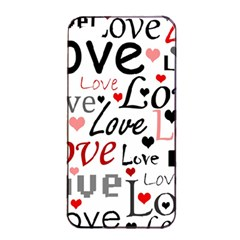 Love pattern - red Apple iPhone 4/4s Seamless Case (Black)