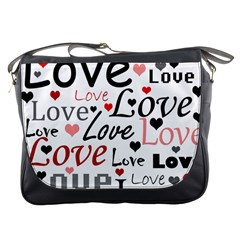 Love pattern - red Messenger Bags