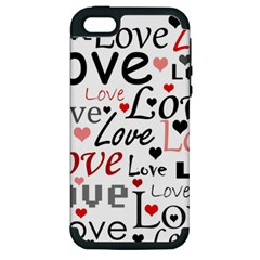 Love pattern - red Apple iPhone 5 Hardshell Case (PC+Silicone)