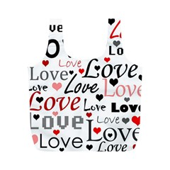 Love pattern - red Full Print Recycle Bags (M)