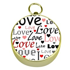 Love pattern - red Gold Compasses