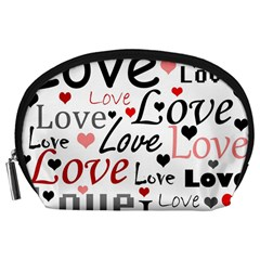 Love pattern - red Accessory Pouches (Large)