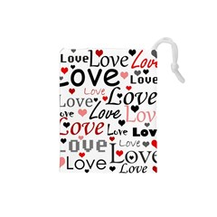 Love pattern - red Drawstring Pouches (Small)