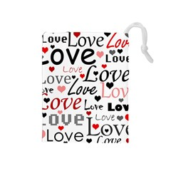 Love pattern - red Drawstring Pouches (Medium)