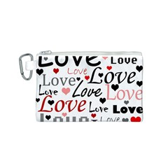 Love pattern - red Canvas Cosmetic Bag (S)