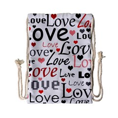Love pattern - red Drawstring Bag (Small)