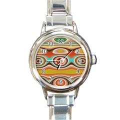 Oval Circle Patterns Round Italian Charm Watch