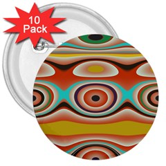 Oval Circle Patterns 3  Buttons (10 Pack)