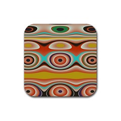 Oval Circle Patterns Rubber Square Coaster (4 pack)