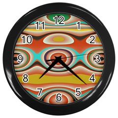 Oval Circle Patterns Wall Clocks (Black)
