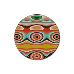 Oval Circle Patterns Rubber Coaster (Round)