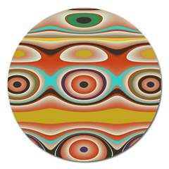 Oval Circle Patterns Magnet 5  (round)
