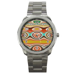 Oval Circle Patterns Sport Metal Watch