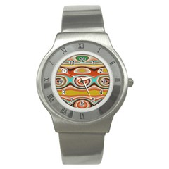 Oval Circle Patterns Stainless Steel Watch