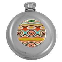Oval Circle Patterns Round Hip Flask (5 oz)