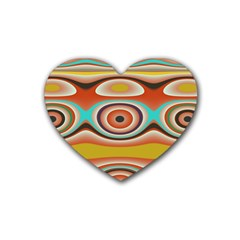 Oval Circle Patterns Heart Coaster (4 Pack)