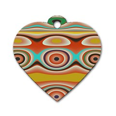 Oval Circle Patterns Dog Tag Heart (Two Sides)