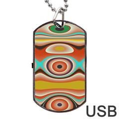 Oval Circle Patterns Dog Tag USB Flash (Two Sides)