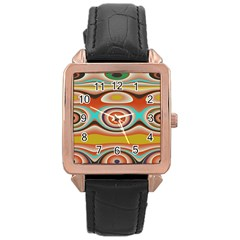 Oval Circle Patterns Rose Gold Leather Watch