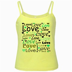 Love pattern - cyan Yellow Spaghetti Tank