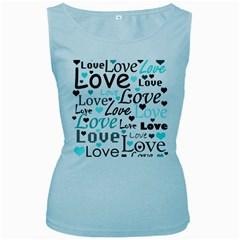 Love pattern - cyan Women s Baby Blue Tank Top