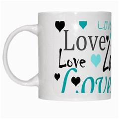 Love pattern - cyan White Mugs