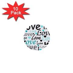 Love pattern - cyan 1  Mini Buttons (10 pack)