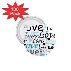 Love pattern - cyan 1.75  Buttons (100 pack)