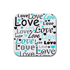 Love pattern - cyan Rubber Square Coaster (4 pack)
